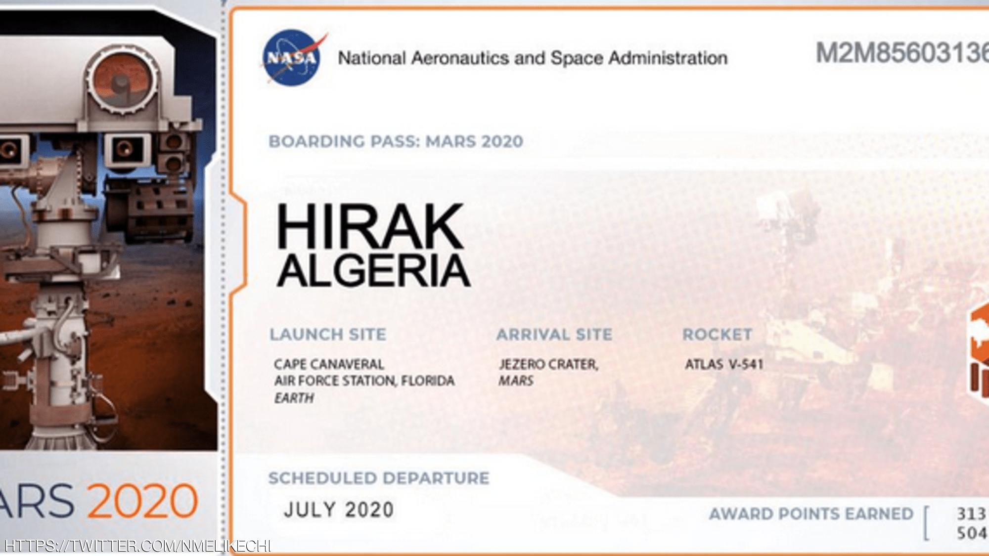 """وغرد عضو الجمعية الفيزيائية الأميركية المكلفة بترقية العلوم الفيزيائية في العالم، بالقول إن المركبة ستحمل اسم """"HIRAK ALGERIA""""."""