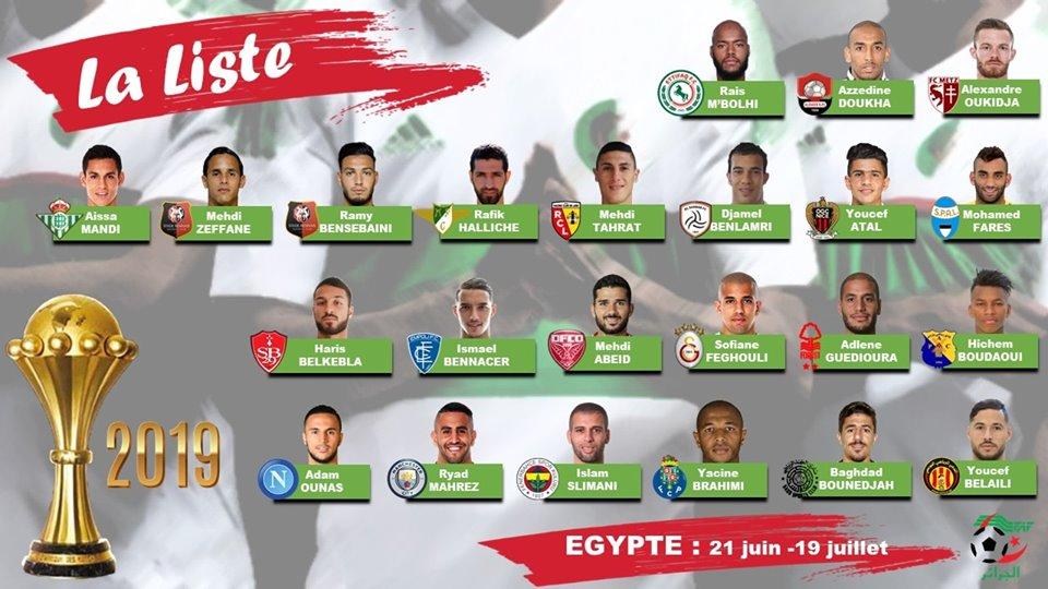 الجزائر – المنتخب الوطني: هذه قائمة 23 لاعبا لكان 2019 — TSA عربي