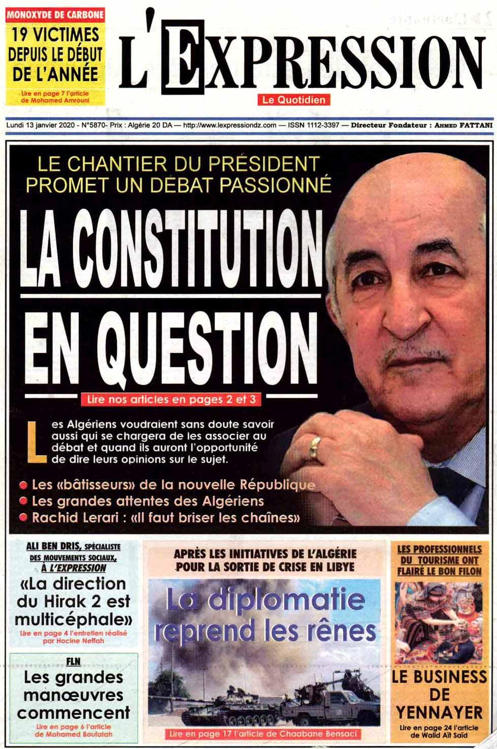 Revue Presse Les Unes Vos Journaux Lundi Janvier Tsa